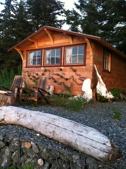 The Cannery Cabin is one step down to a mile long sandy beach