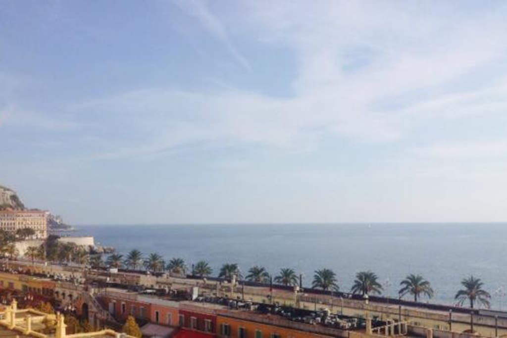 Wiew over Bay des Anges from our staircase,