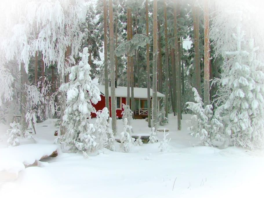 Mansikka Cottage at winter