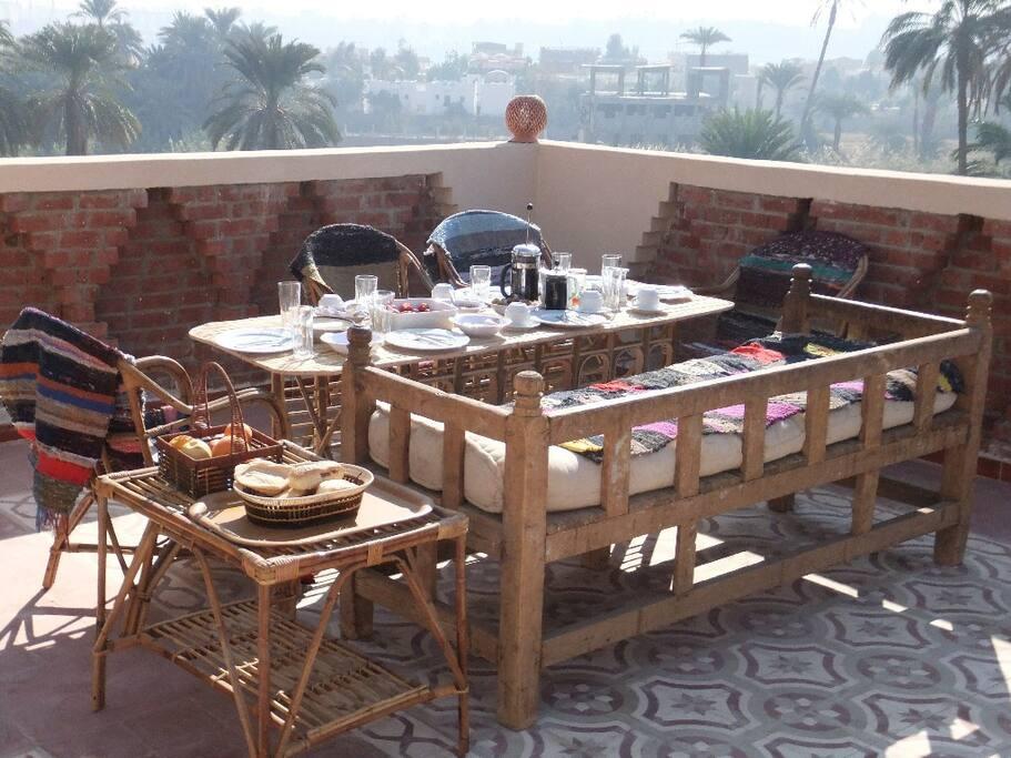 Breakfast served on roof terrace
