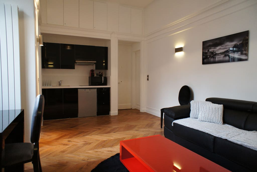 Open and discreet kitchen including fridge freezer, cooking hob, hood, microwave, Nespresso machine
