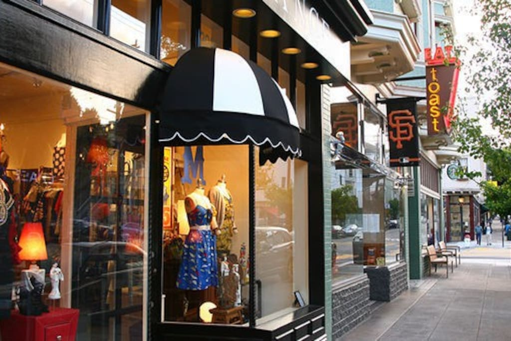 Less than 10 min walk to shops and restaurants on Noe Valley 24th street