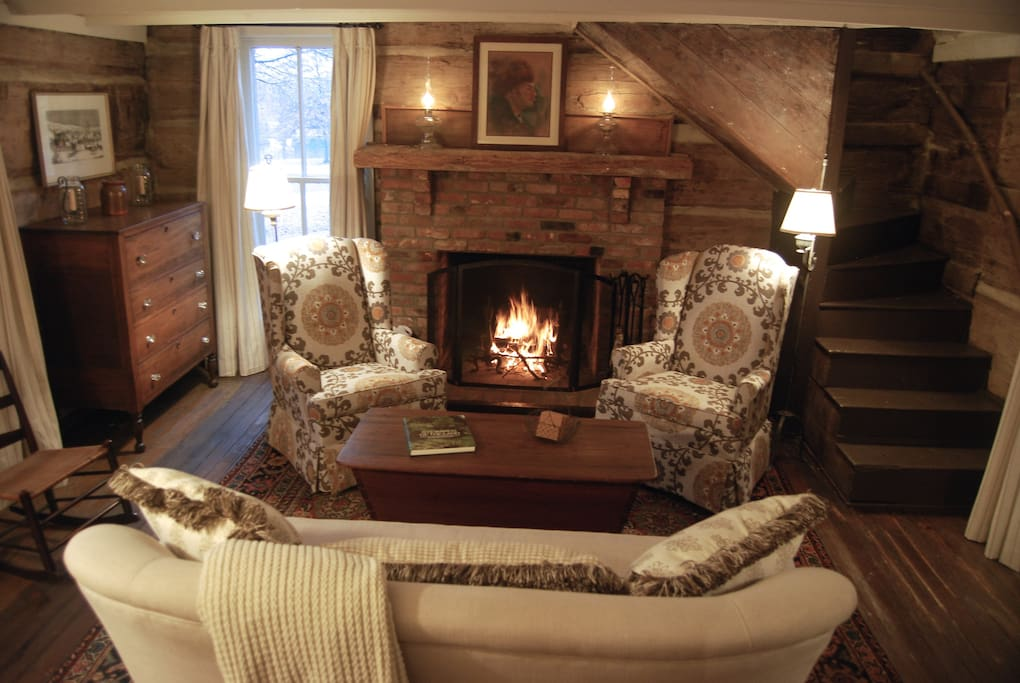 The wood burning fireplace warms the living room in winter.