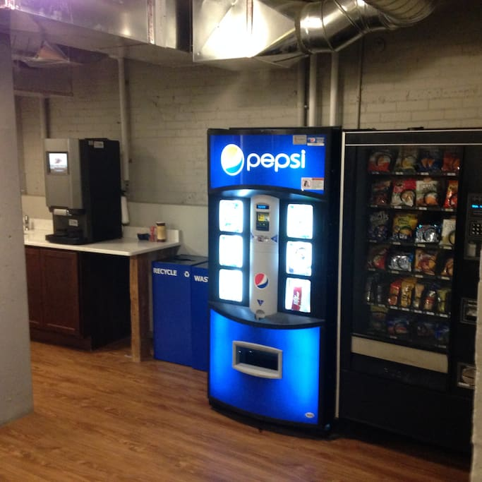 Free coffee/latte/tea machine and full vending machines