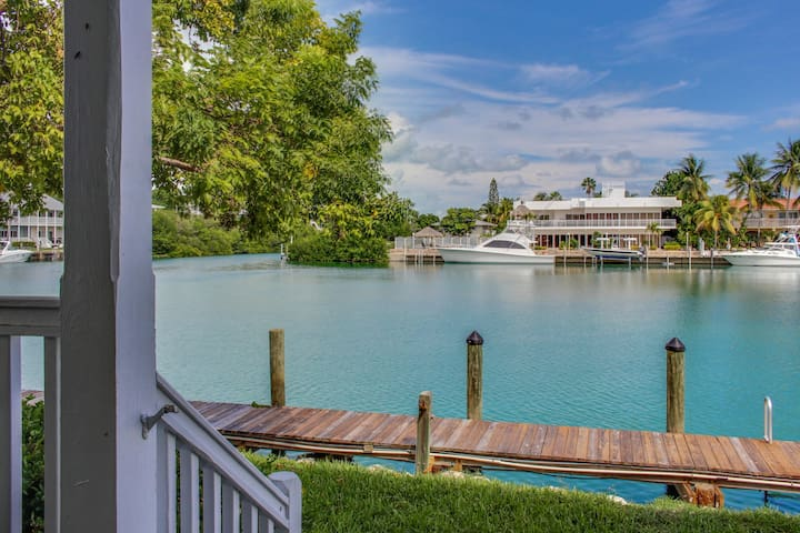 Lovely bayfront home overlooking Lake Lucille with a dock