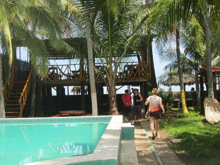 The pool and front  ocean deck