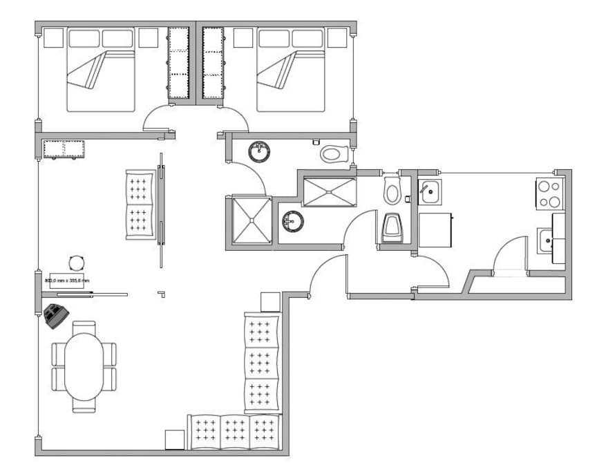 apartment map with 2 bedrooms
