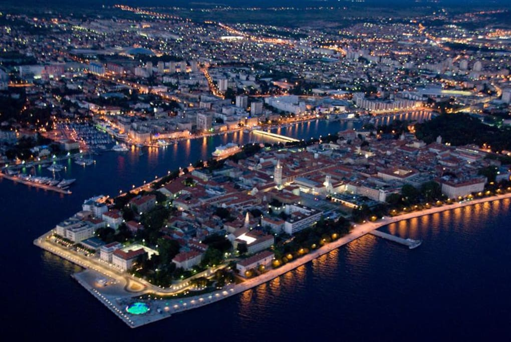 Night view Aerial Zadar