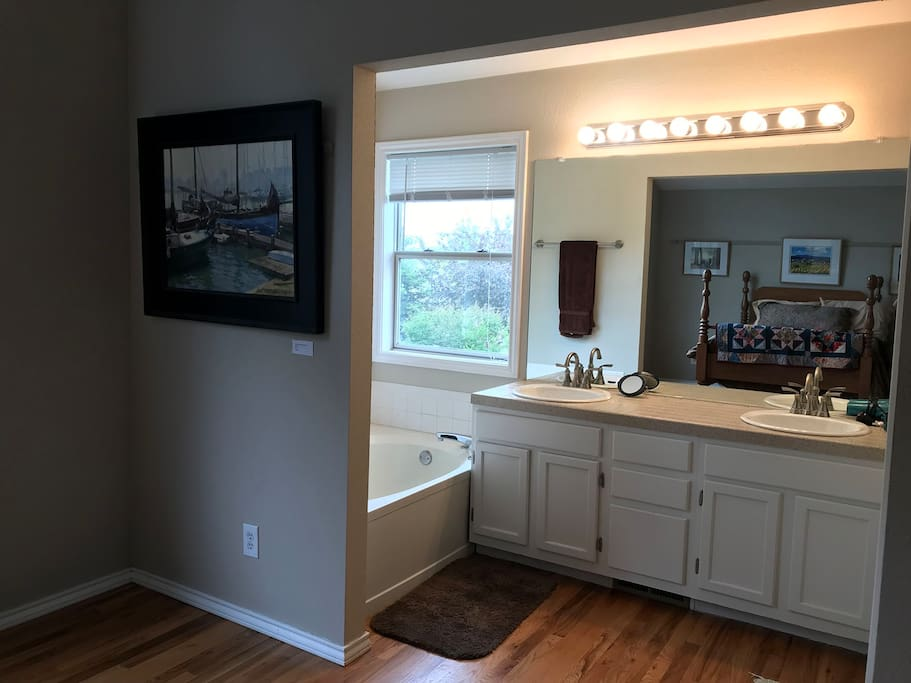 Large tub for soaking and separate shower
