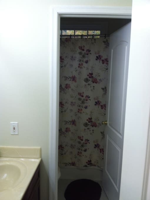 The bathroom is a split room, a door separates the shower/tub and comdode from the vanity giving you more privacy.