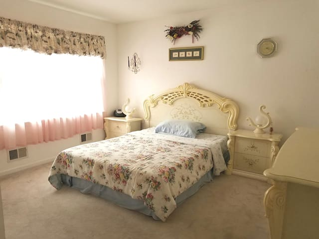 Fully Furnished Bedroom with Queen bed.