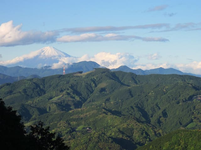View from Mt. Bikuishi.  On a clear day you can see Mt. Fuji. Nice day hike that you can do in our village.