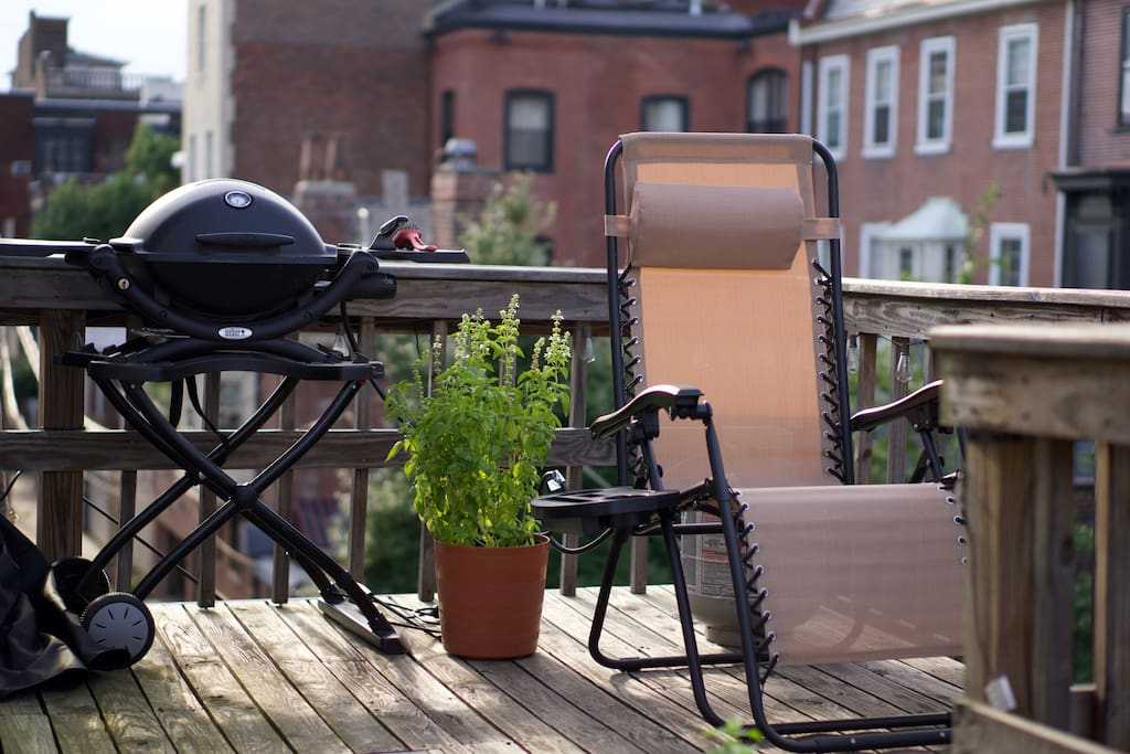 Grill and Lounge chair on our private 3rd floor deck