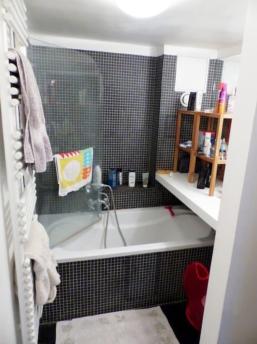 Salle de bain à l'étage, ouverte mais privée