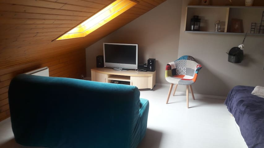 Chambre cosy 15 m2 avec cabinet de toilettes.