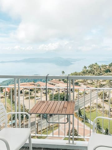 Taal Lake view from the balcony with coffee nook.