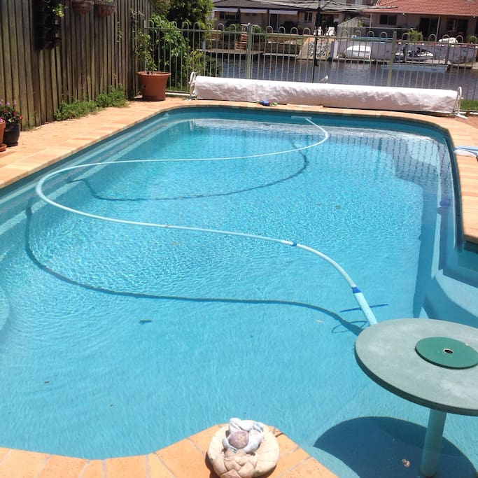 Pool is usually kept warm with a pool blanket.