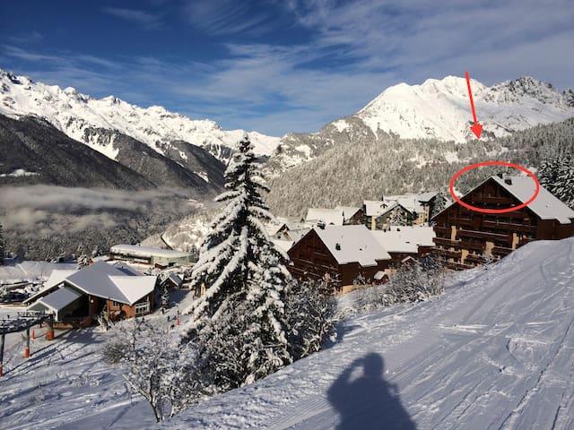 Ski-in-ski out skiing