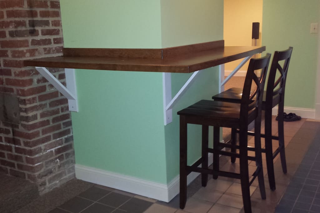 Here's our cute bar counter area in the kitchen.