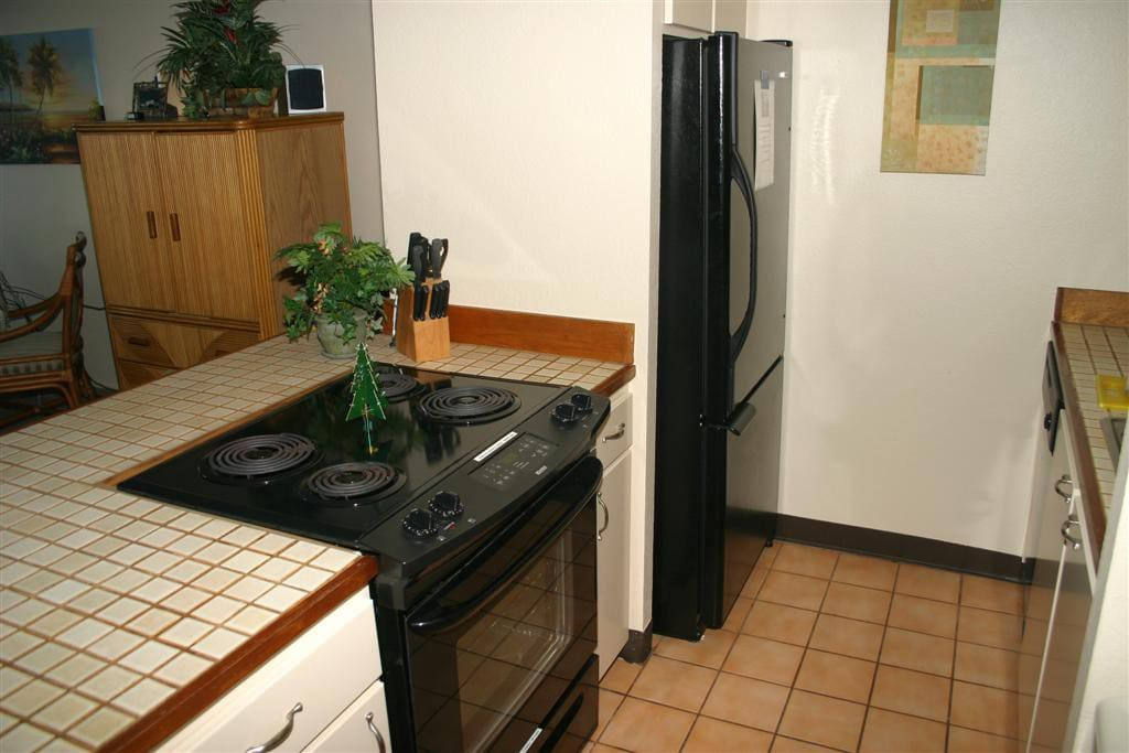 Full kitchen, very well appointed...full serving sets, appliances, utensils, and more!