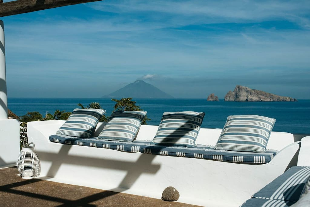 View from the terrace over Stromboli and Basiluzzo