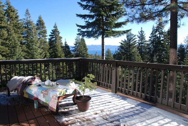 Even with snow on the ground, the south-facing deck can be sunny and warm enough to sit outside and drink hot chocolate on many of Tahoe's sunny winter days.
