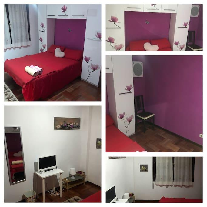 Habitación con cama grande,tv hd