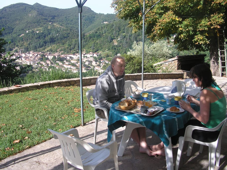 Breakfast  on terrace view of valley Village Sumene