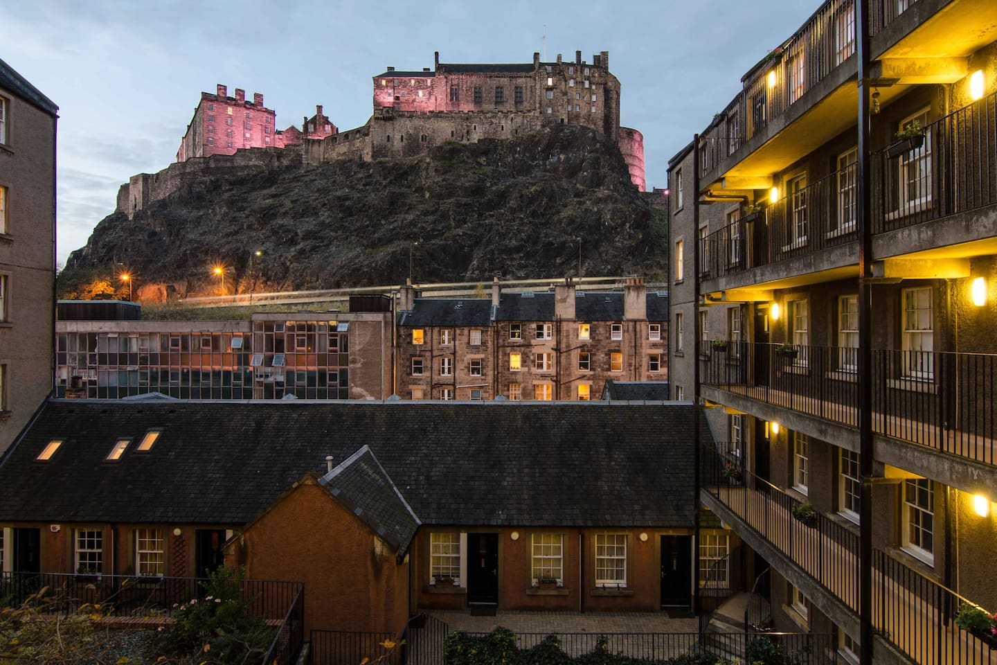 Stunning view of Edinburgh Castle as you enter into tenement.