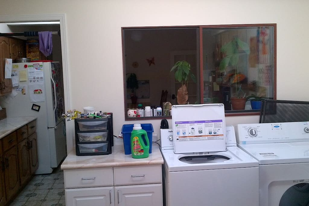 One of the two laundry areas