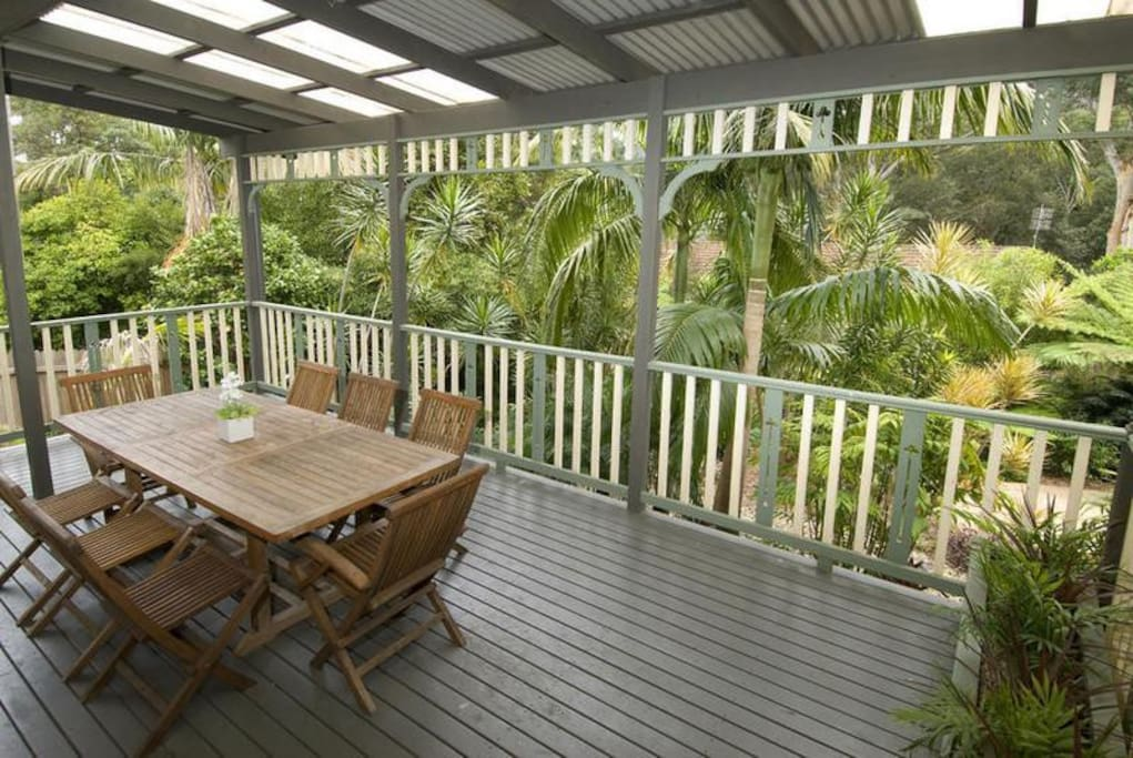 Front deck and outdoor dining area.