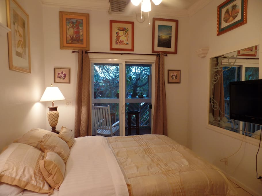 Bedroom - French doors lead to screened lanai (porch)