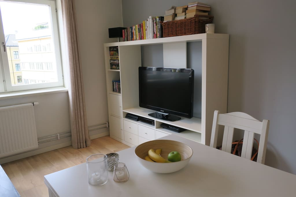 TV with cable, movies, board games and books.