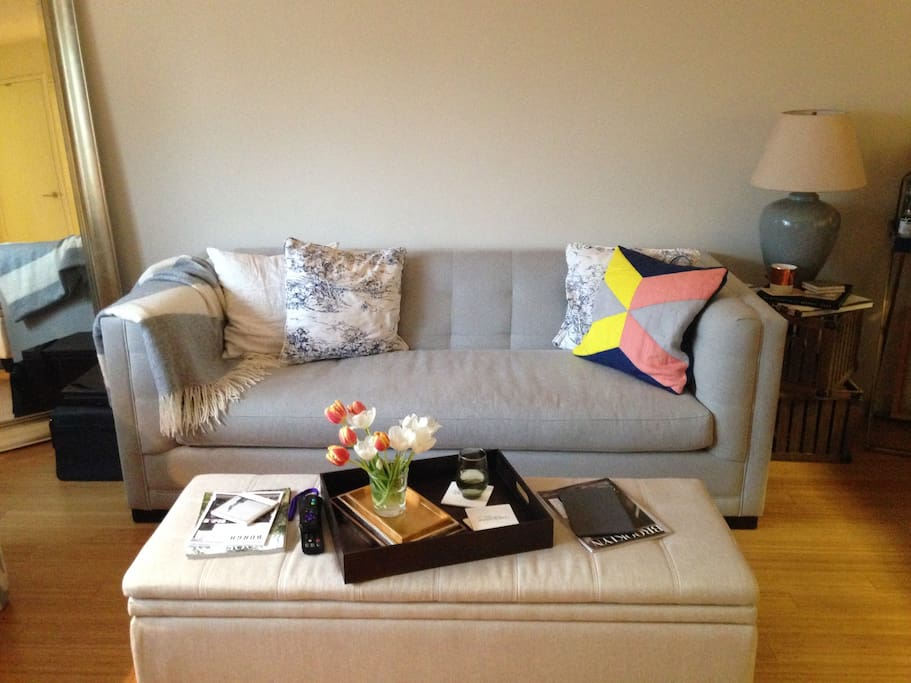couch facing flat screen TV - ottoman doubles as linen storage