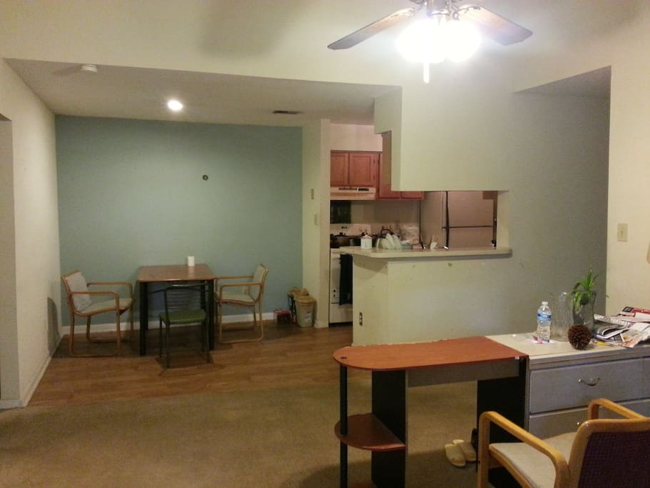 furnished living room with kitchen. share with a male student in  UNC.
