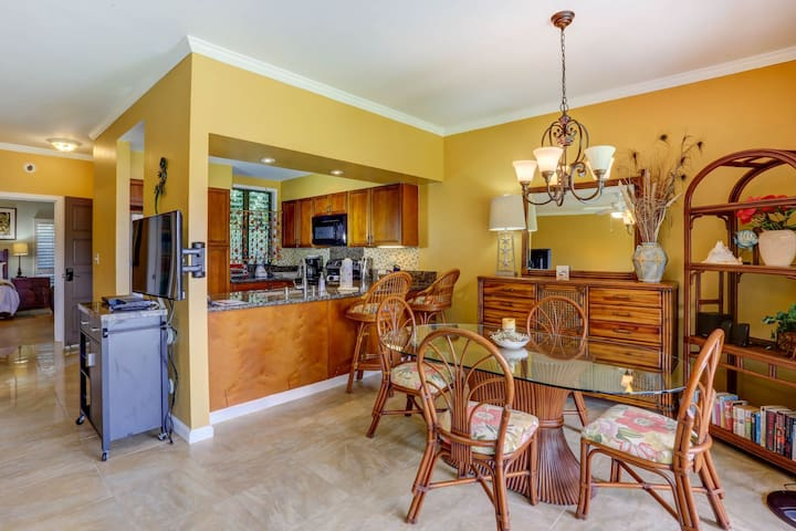 Dining area  showing full kitchen, view of the pool/ocean
