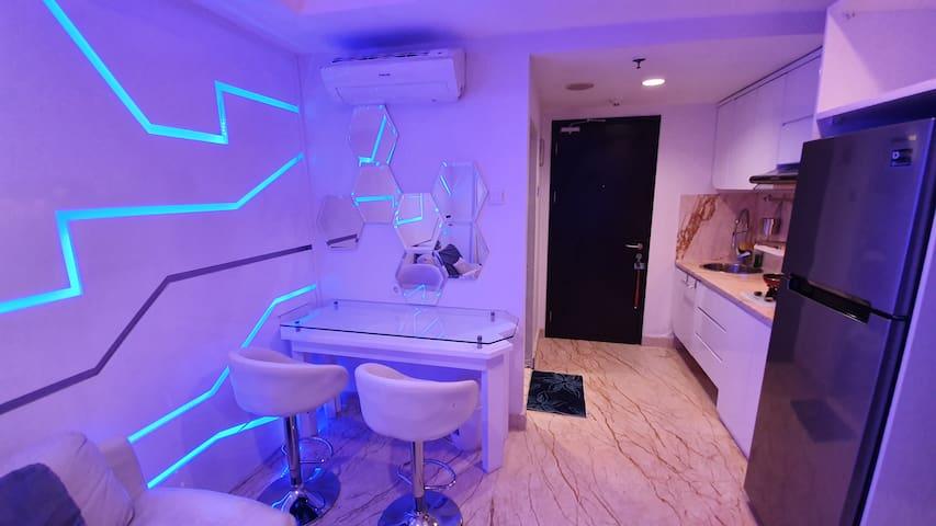 Apt Belmont Residence Futuristic Tron space design