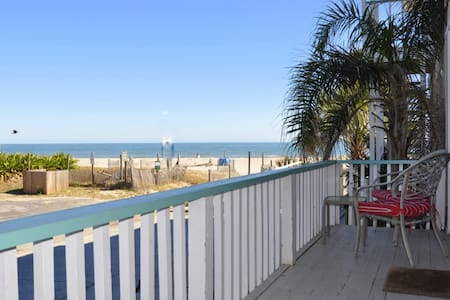 Charming Studio Apartment with ocean view. Main room has a sleeper sofa & queen poster bed.  Fully equipped kitchen & renovated bath.  You have a small private balcony and access to shared 90 x 60 ft. oceanfront patio with charcoal grill, table & cha