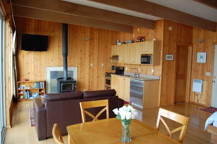Open vaulted studio space.