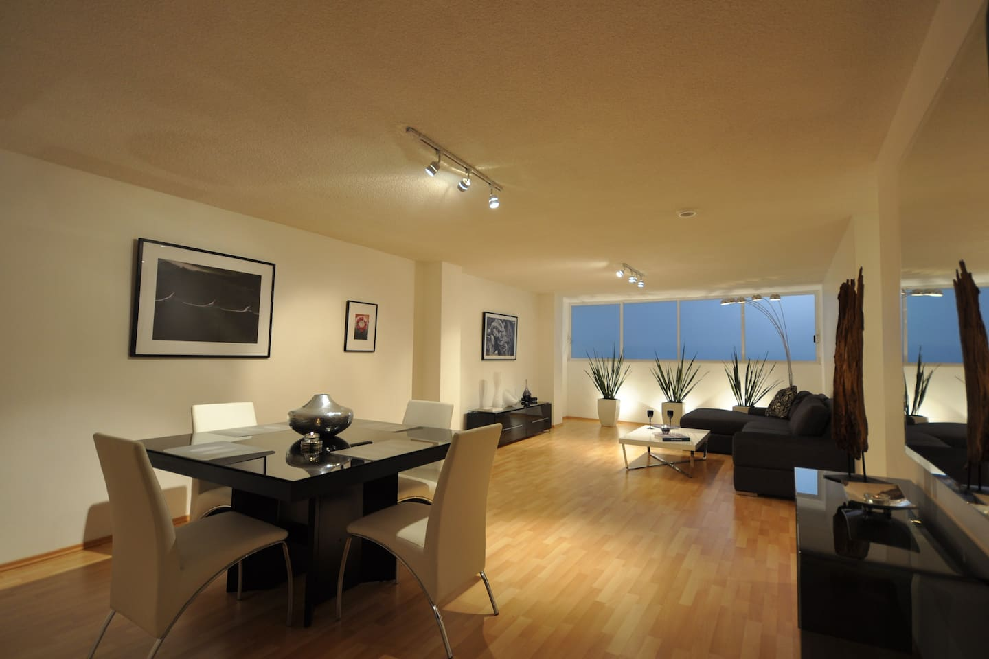 Loft-like layout of Living Room and Dining Room.