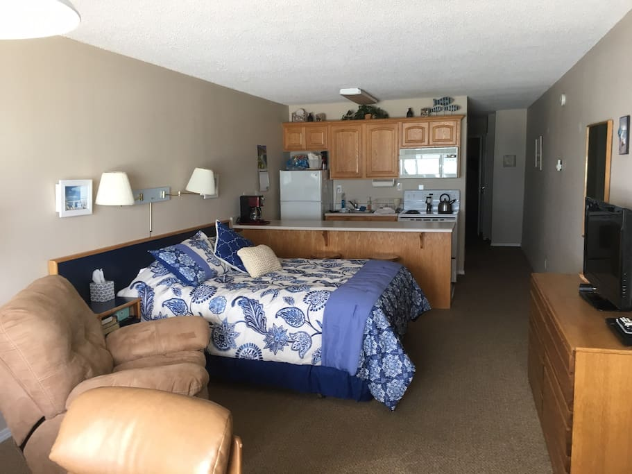 The main room, with queen bed and kitchen area