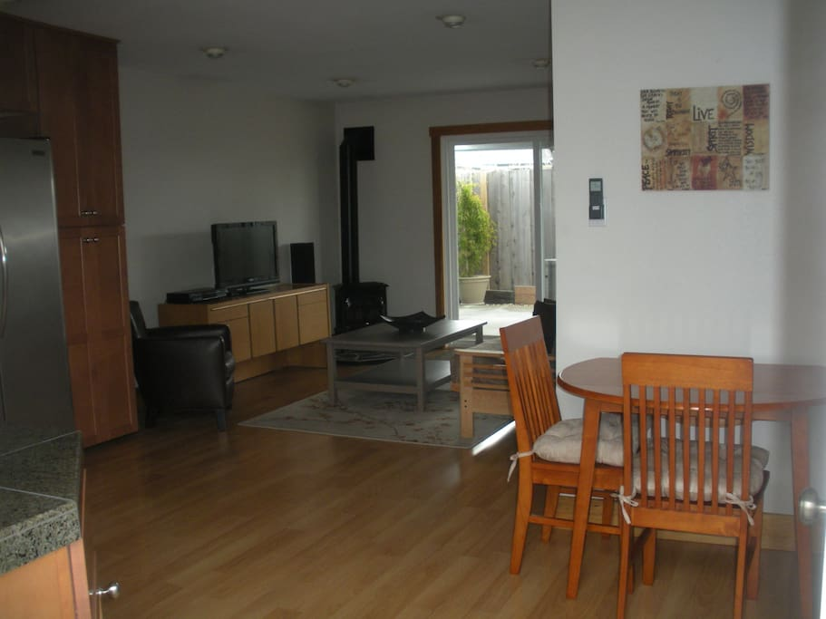 Dining area, and living room.