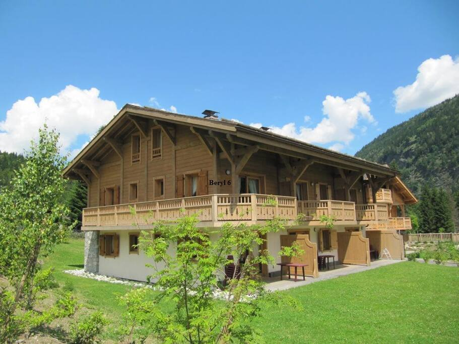 The apartment has a wrap around balcony with fantastic views of Mt Blanc