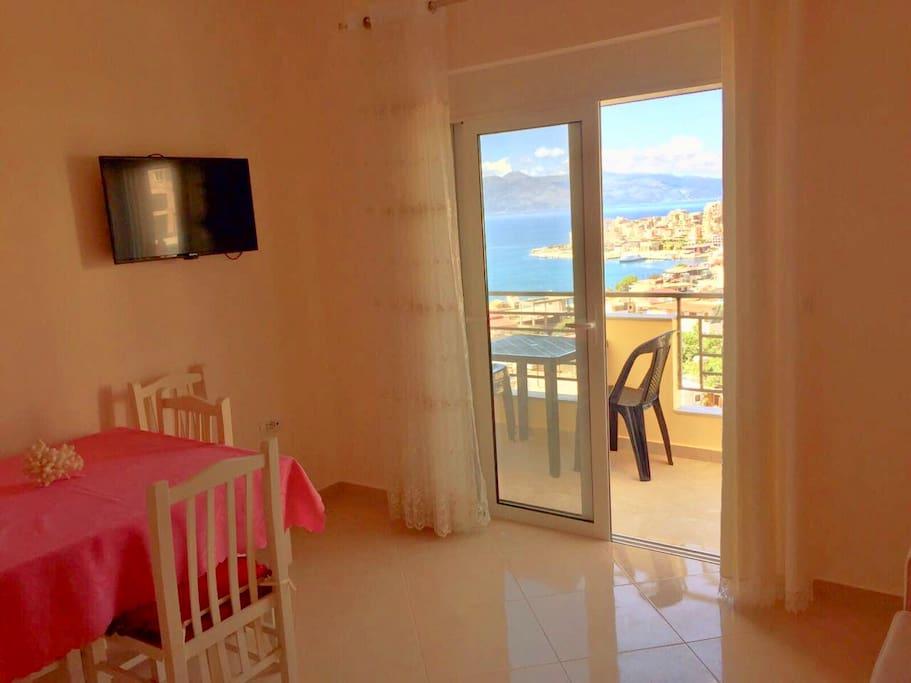 Relax room with balcony view: Ionian Sea, Saranda , Corfu Island.