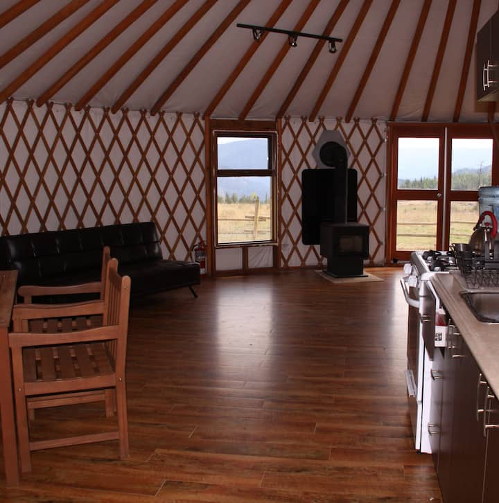 Mongolian yurt on lake at Bear Valley Highlands