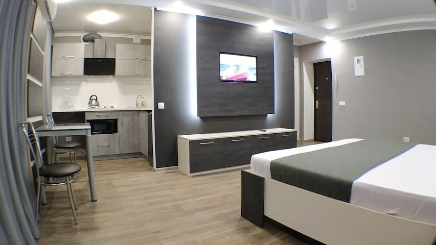 Комната 1, ТВ, кухня