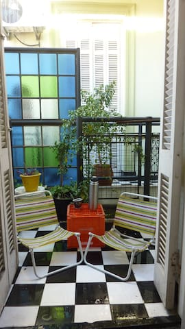 The inner patio in summer.
