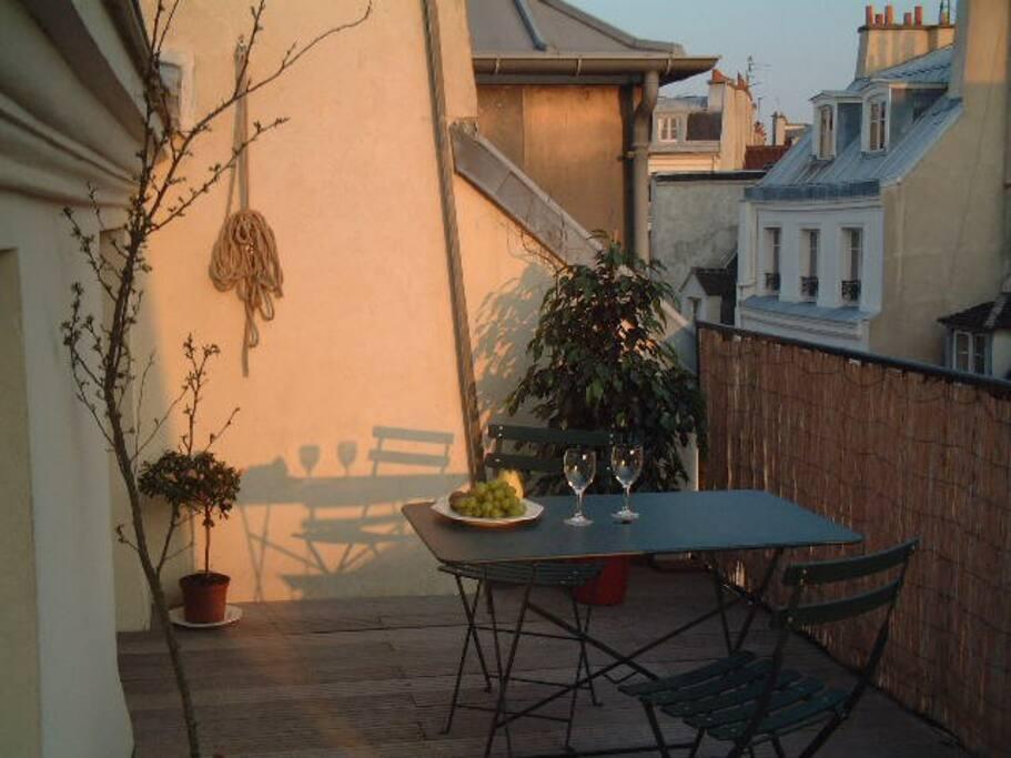 terrace at sundown