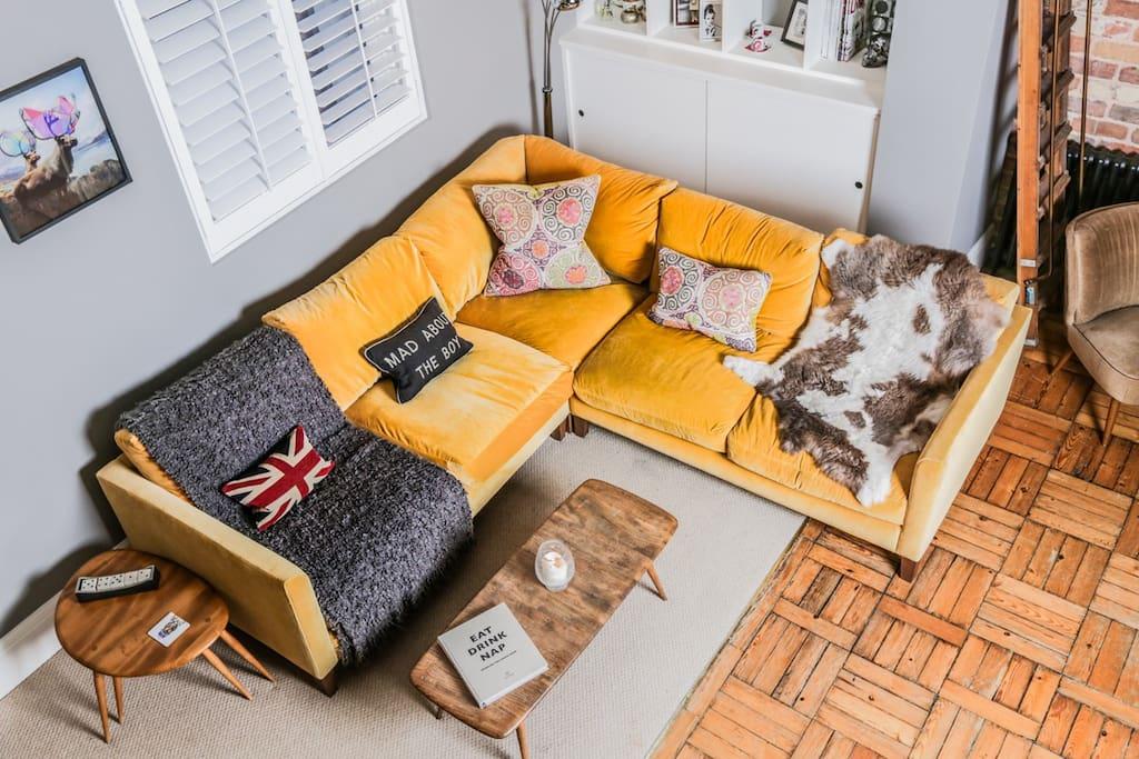 Super comfy corner sofa and TV area