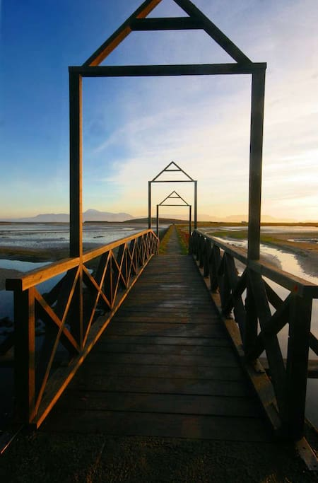 The house is all about what is around not what is necessarily inside, this is the view of the causeway walk to the beach